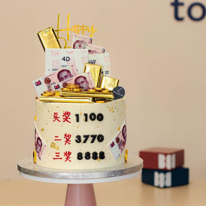 Lucky Winner's 4D Cake with Gold Splash