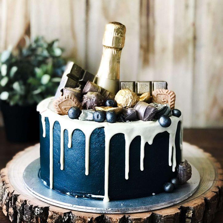 Super Midnight Blue Champagne Cake Bob The Baker Boy Funny Birthday Cards Online Hetedamsfinfo