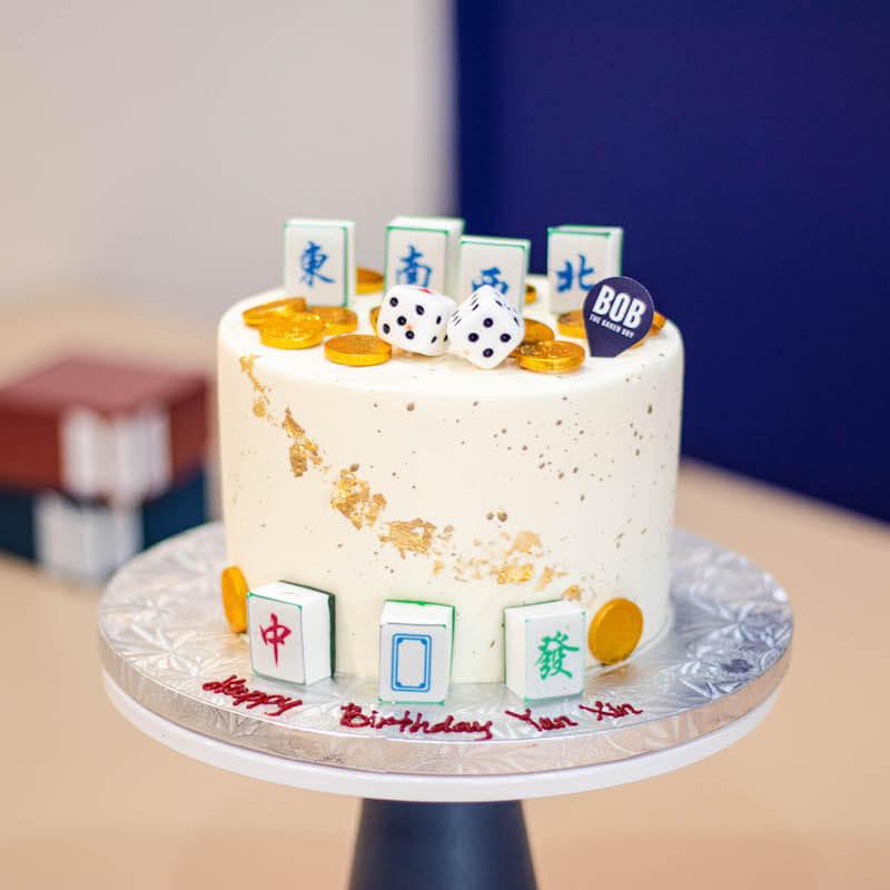 Longevity Mahjong Cake with 7 Mahjong Tiles and Dice