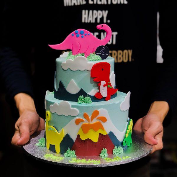Pastel Dinosaur Cake With Volcano