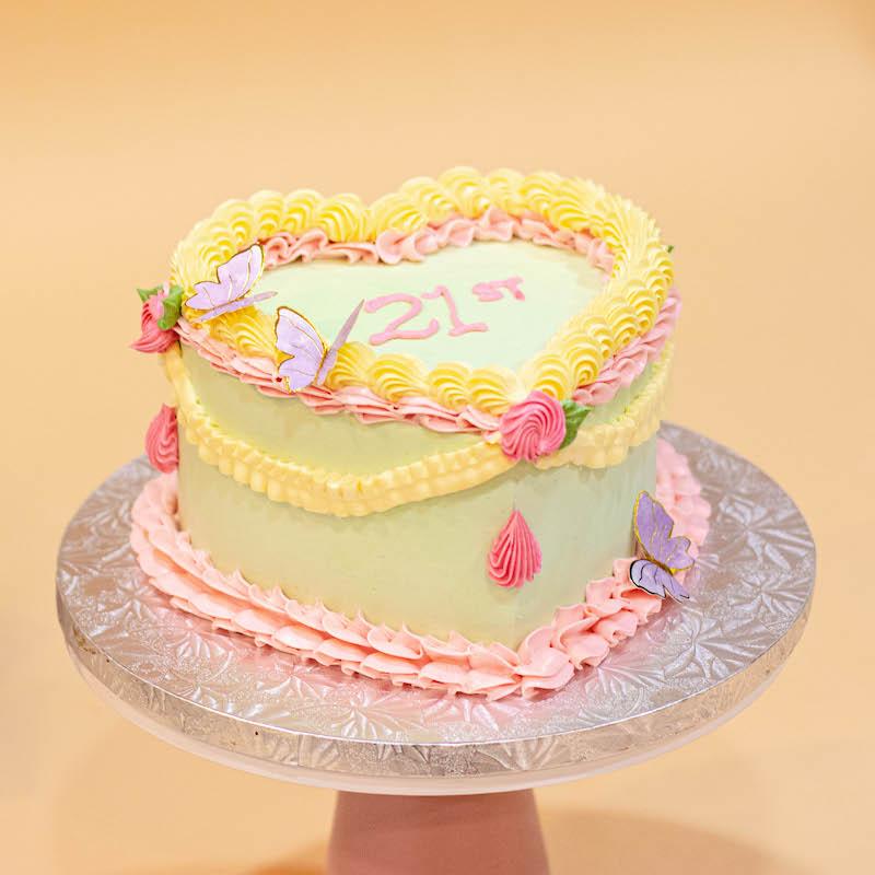 Korean Lettering Heart Shaped Cake