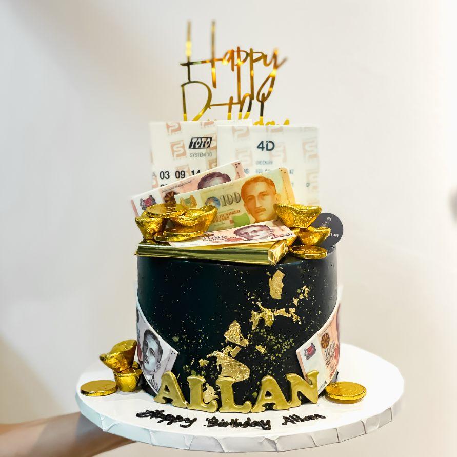 Cash and Ingots Birthday Cake in Classy Black