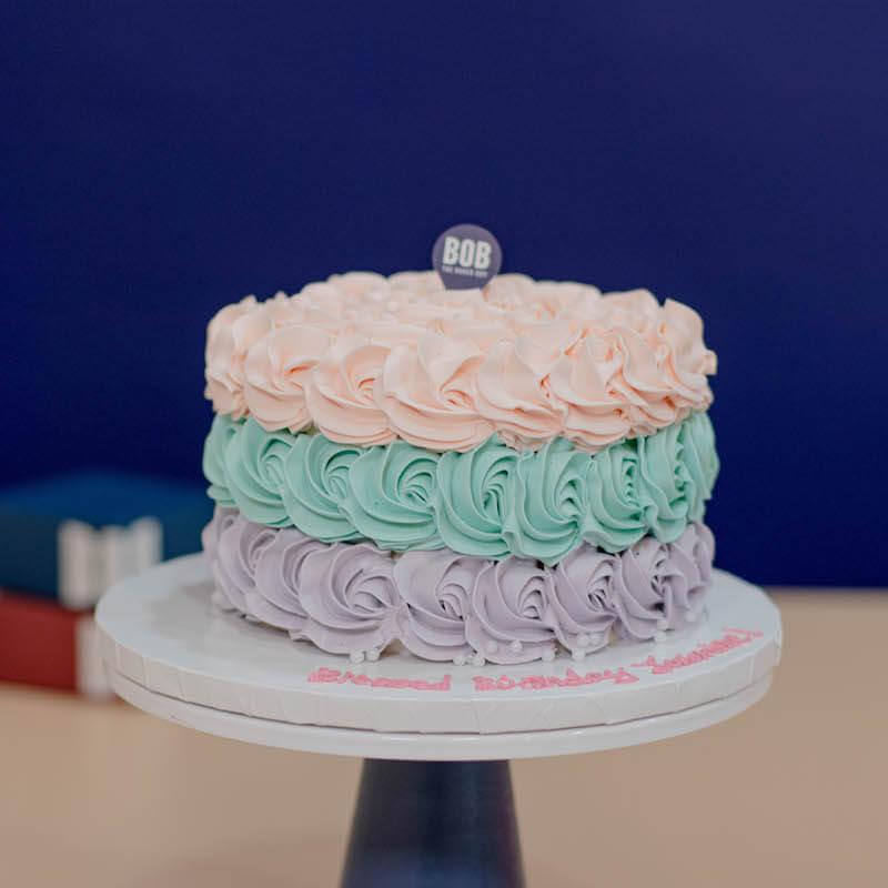 Trio Colored Mermaid Rosette Cake