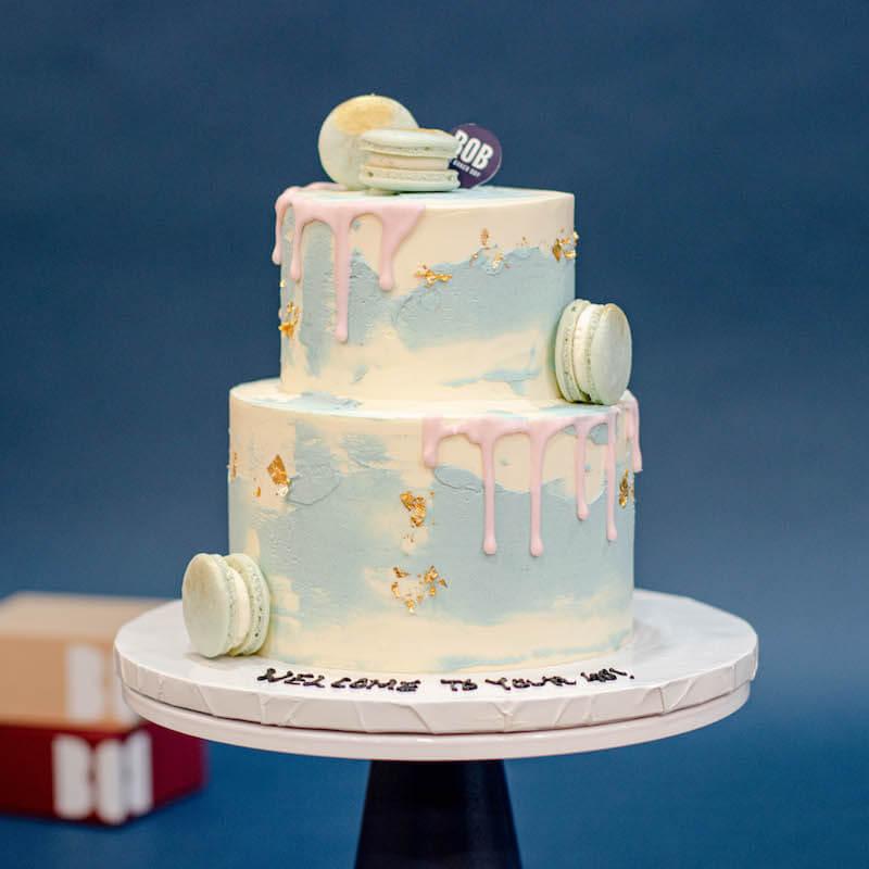 Minimalist Shades of Pastel Blue Cake