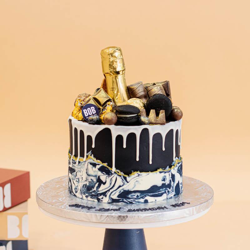 Marbled Woodstone Champagne Cake