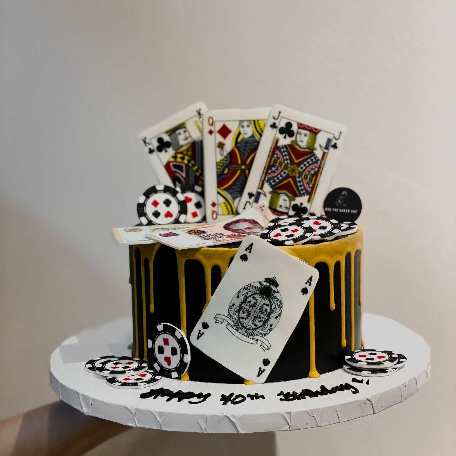 Casino Poker Themed Birthday Cake