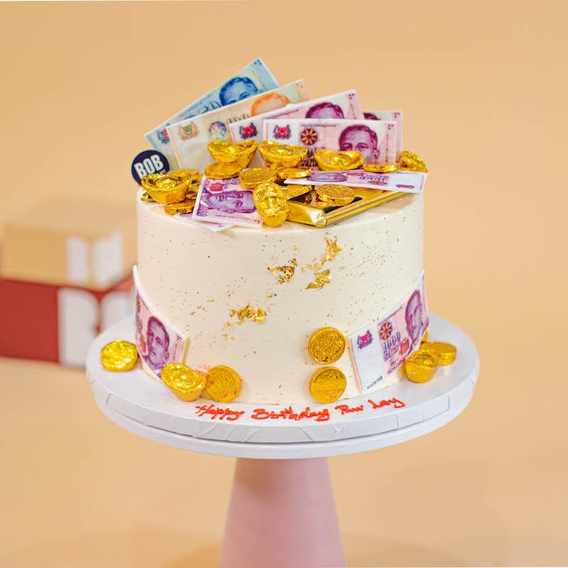 Cash and Ingots Birthday Cake in Classy White