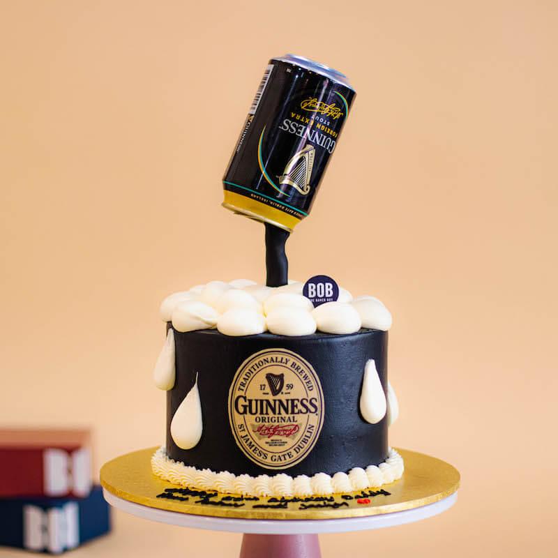 Black Gravity Defying Beer Can Cake