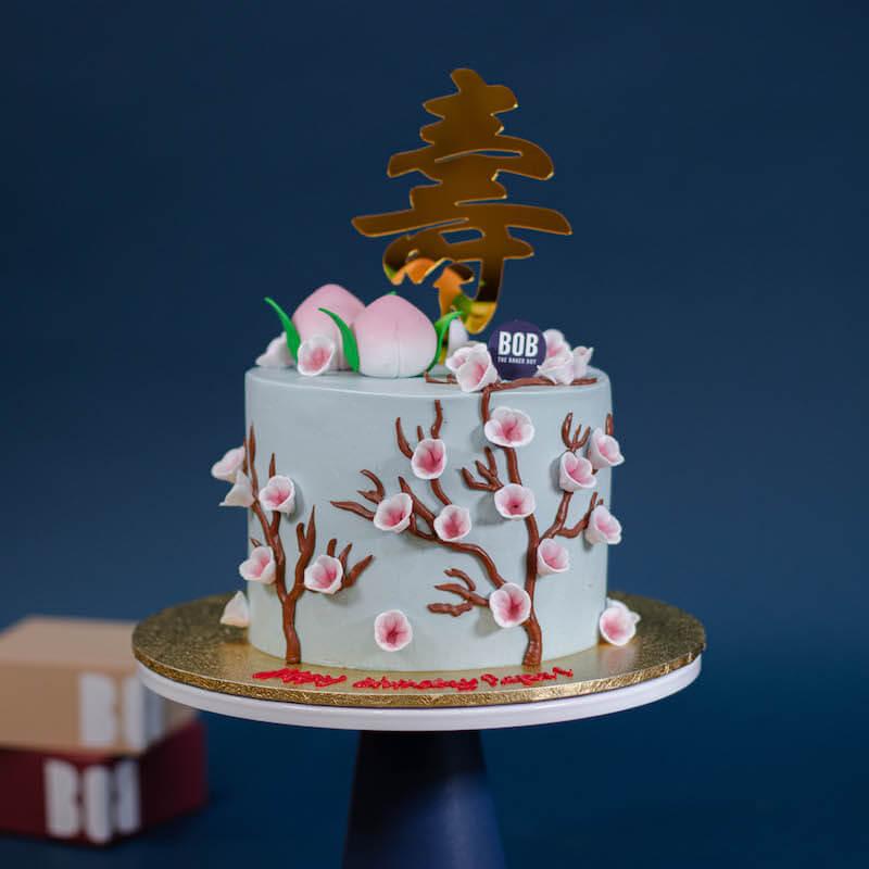 Tiffany Blue Longevity Cake with 2 Shou Tao and Cherry Blossoms