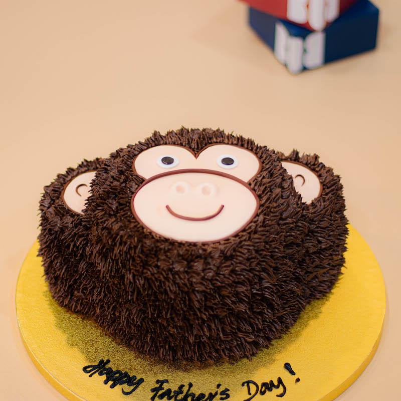 3D Monkey Cake in Dark Oak Brown
