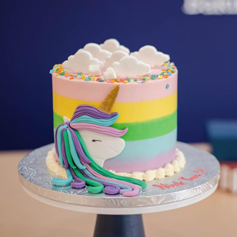Elegant Magical 2D Unicorn Cake