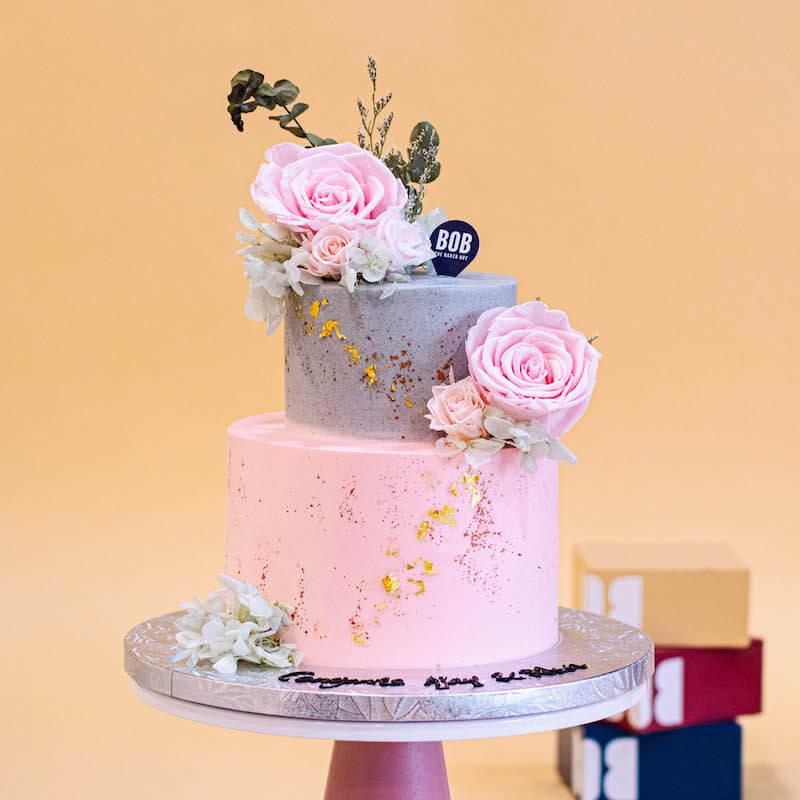 Everlasting Grey and Pink Cake