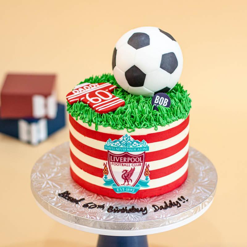 Soccer Ball Cake in Red Stripe
