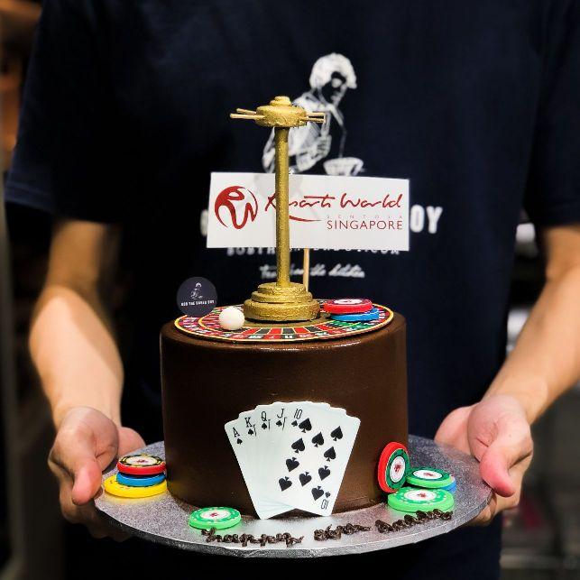 Casino Roulette Wheel Themed Cake