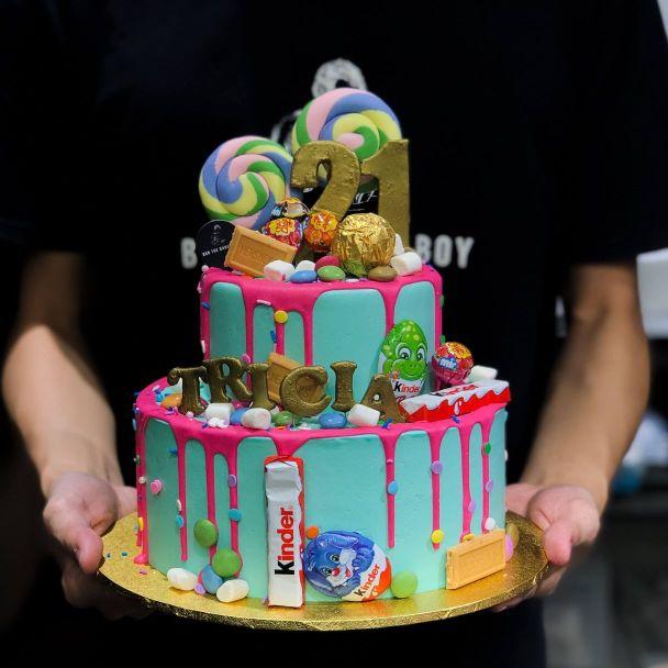 Teal Rainbow Candyland Whimsical Cake