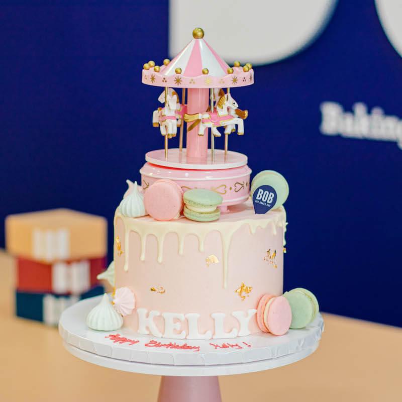 Music Carousel Cake in Sweet Pink
