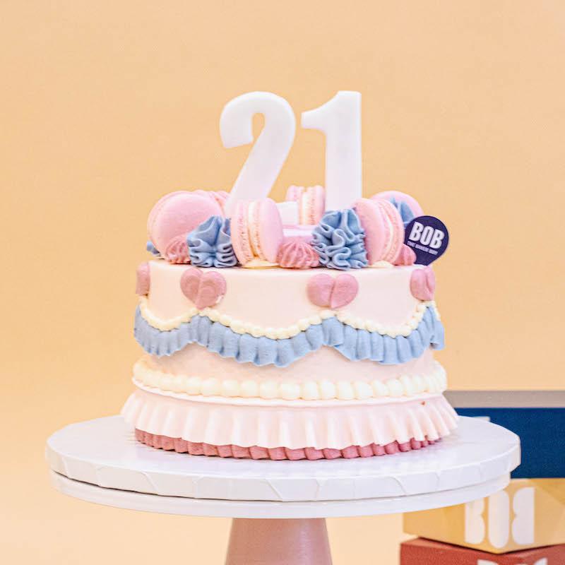 Classic Korean Cake in Pastel Pink Ruffles