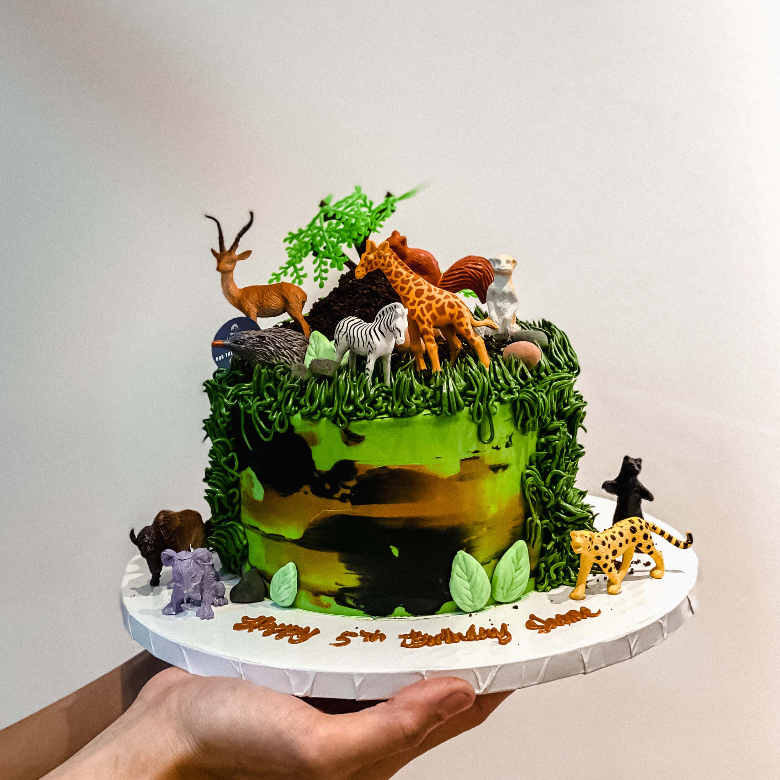 Jungle Cake with Wild Animal Toys